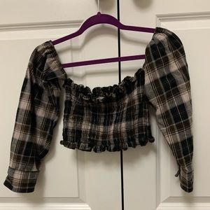 LF cropped vintage flannel top